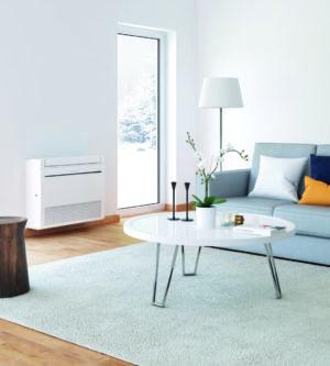 Mitsubishi varmepumpe gulvmodel i stue